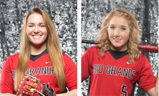Rio Grande's Kim Rollins (left) and Alex Kuhn (right) have been named NAIA Scholar-Athletes
